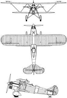 Plan 3 vues du Fiat CR.32
