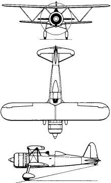 Plan 3 vues du Fiat CR.42 Falco