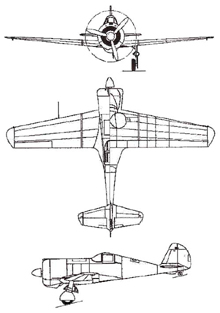Plan 3 vues du Curtiss CW-21 Demon