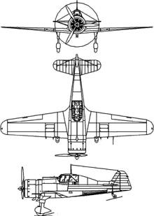Plan 3 vues du Fokker D XXI