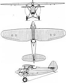 Plan 3 vues du Dewoitine D.27