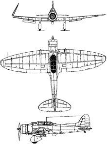 Plan 3 vues du Aichi D3A  'Val'