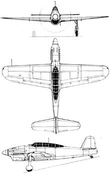 Plan 3 vues du Yokosuka D4Y Suisei 'Judy'