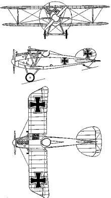 Plan 3 vues du Albatros D V