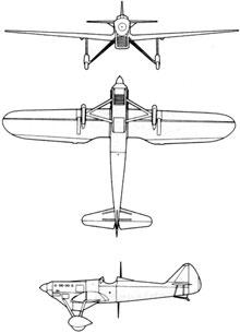 Plan 3 vues du Dewoitine D.500/510