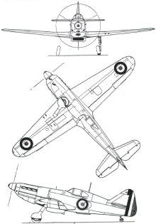 Plan 3 vues du Dewoitine D.520