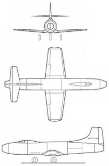 Plan 3 vues du Douglas D-558-1 Skystreak