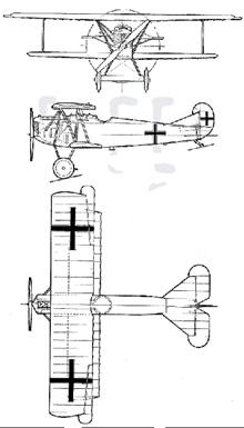 Plan 3 vues du Fokker D.VII