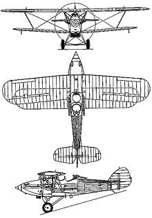 Plan 3 vues du Hawker  Demon