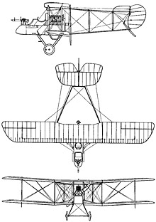 Plan 3 vues du Airco D.H.1