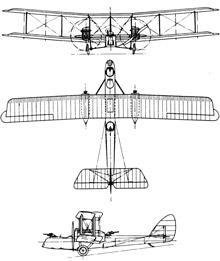 Plan 3 vues du Airco D.H.10 Amiens