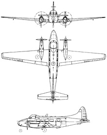 Plan 3 vues du De Havilland DH.104 Dove/Devon