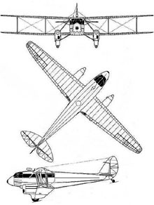 Plan 3 vues du De Havilland DH.89 Dominie