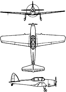 Plan 3 vues du De Havilland Canada DHC-1 Chipmunk