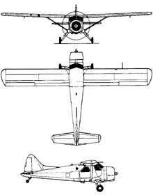 Plan 3 vues du De Havilland Canada DHC-2 Beaver