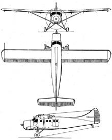 Plan 3 vues du De Havilland Canada DHC-3 Otter