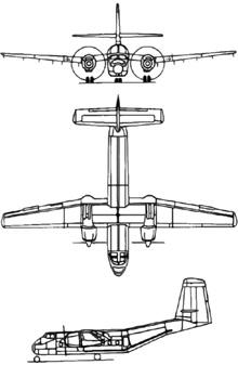 Plan 3 vues du De Havilland Canada DHC-4 Caribou