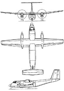 Plan 3 vues du De Havilland Canada DHC-5 Buffalo