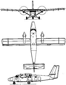 Plan 3 vues du De Havilland Canada DHC-6 Twin Otter
