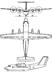Plan 3 vues du De Havilland Canada DHC-7 Dash 7