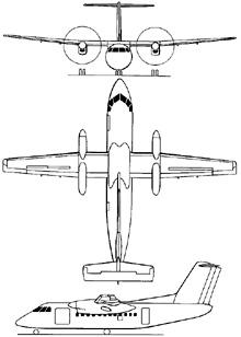 Plan 3 vues du Bombardier / De Havilland Canada Dash 8