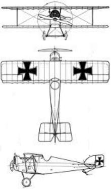 Plan 3 vues du Aviatik D.I