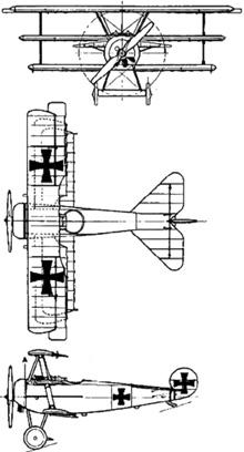 Plan 3 vues du Fokker Dr I