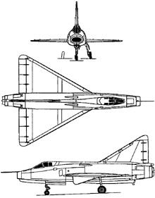 Plan 3 vues du Sud-Est SE.212 Durandal