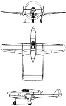 Plan 3 vues du Fokker D-XXIII