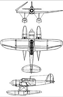 Plan 3 vues du Aichi E13A  'Jake'