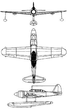 Plan 3 vues du Kawanishi E15K Shiun 'Norm'