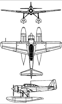 Plan 3 vues du Aichi E16A Zuiun 'Paul'