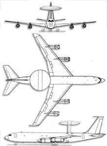 Plan 3 vues du Boeing E-3 Sentry