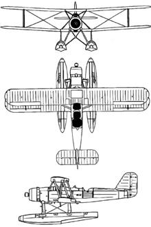Plan 3 vues du Kawanishi E7K  'Alf'