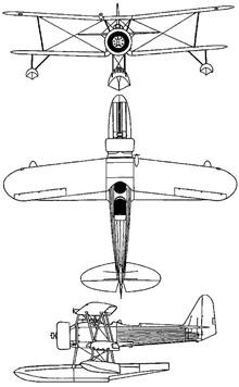 Plan 3 vues du Nakajima E8N  'Dave'