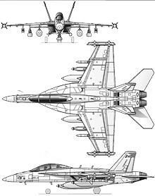 Plan 3 vues du Boeing EA-18 Growler