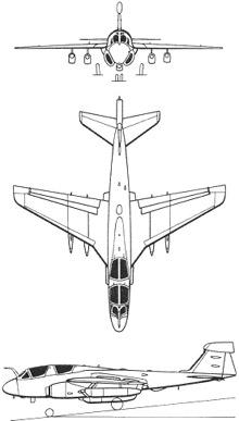 Plan 3 vues du Grumman EA-6 Prowler