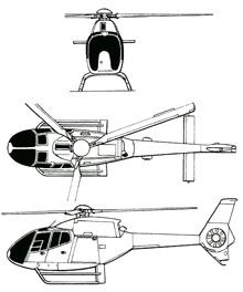 Plan 3 vues du Eurocopter EC-120 Colibri