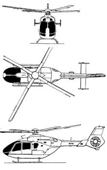 Plan 3 vues du Eurocopter EC-135/EC-635