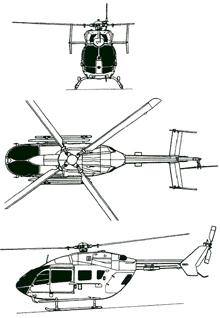 Plan 3 vues du Eurocopter EC-145 / EC-645