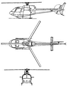 Plan 3 vues du Aérospatiale AS-350/AS-550 Ecureuil