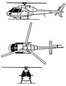 Plan 3 vues du Aérospatiale AS-355 Ecureuil 2