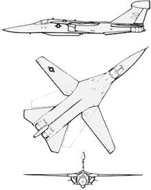 Plan 3 vues du General Dynamics-Grumman EF-111 Raven