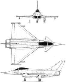 Plan 3 vues du Eurofighter EF-2000 Typhoon