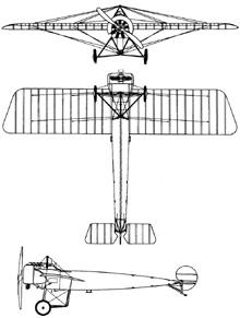 Plan 3 vues du Fokker E.III Eindecker