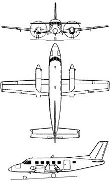 Plan 3 vues du Embraer  EMB 110/C-95 Bandeirante