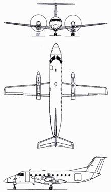 Plan 3 vues du Embraer EMB 120 Brasilia