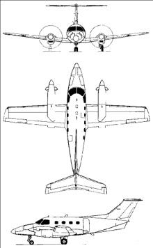 Plan 3 vues du Embraer  EMB 121 Xingu
