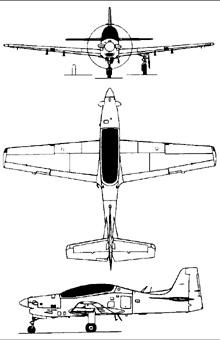 Plan 3 vues du Embraer  EMB 312 Tucano
