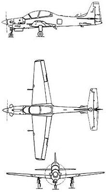 Plan 3 vues du Embraer  EMB 314 Super Tucano